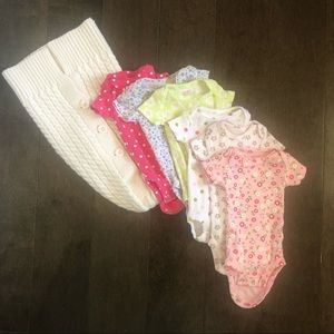 NB girls onesies and swaddle